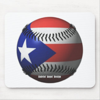Puerto Rico Flag Covering a Baseball Mouse Pads