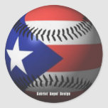 Puerto Rico Flag Covering a Baseball Round Sticker