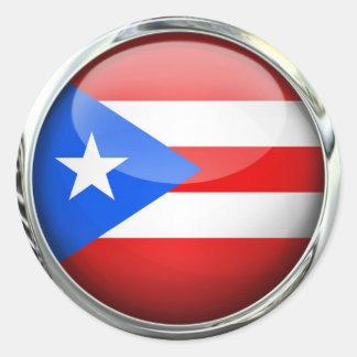 Puerto Rico Flag Glass Ball Classic Round Sticker