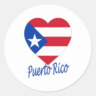Puerto Rico Flag Heart Classic Round Sticker