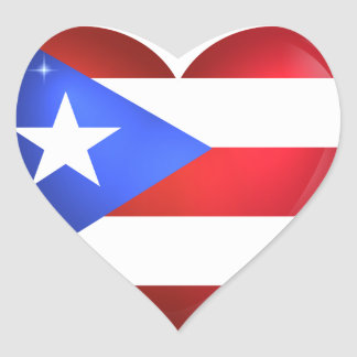 Puerto Rico Flag Heart Sticker