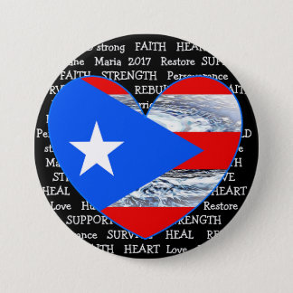 Puerto Rico Flag Hurricane Maria 2017 Button