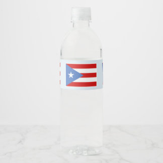 Puerto Rico Flag on Light Blue Water Bottle Label