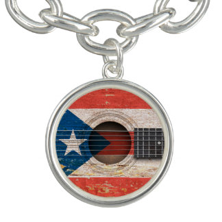 Puerto Rico Flag on Old Acoustic Guitar