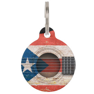 Puerto Rico Flag on Old Acoustic Guitar Pet Name Tag
