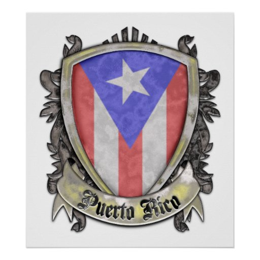 Puerto Rico Flag - Shield Crest Poster