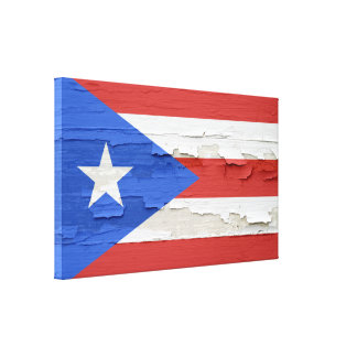 Puerto Rico Flag Weathered Paint Stretched Canvas Print
