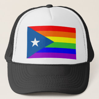 puerto rico gay proud rainbow flag homosexual trucker hat