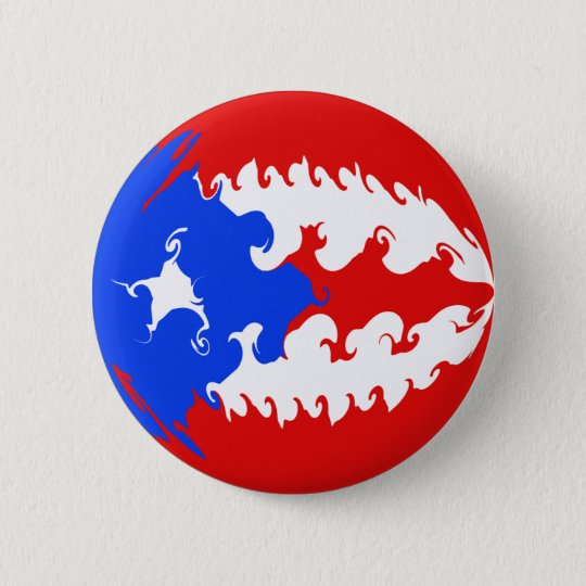 Puerto Rico Gnarly Flag 6 Cm Round Badge