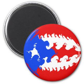 Puerto Rico Gnarly Flag 6 Cm Round Magnet