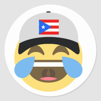 Puerto Rico Hat Laughing Emoji Classic Round Sticker
