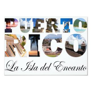 """Puerto Rico La Isla Del Encanto Collage / Montage 3.5"""" X 5"""" Invitation Card"""