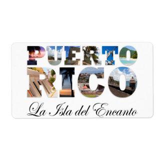 Puerto Rico La Isla Del Encanto Collage / Montage Shipping Label