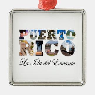 Puerto Rico La Isla Del Encanto Collage / Montage Silver-Colored Square Decoration