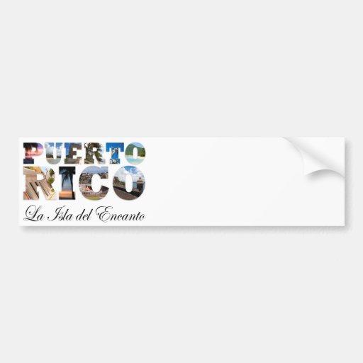 Puerto Rico La Isla Del Encanto Montage Bumper Stickers