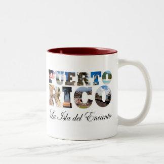Puerto Rico La Isla Del Encanto Montage Two-Tone Coffee Mug