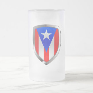 Puerto Rico Metallic Emblem Frosted Glass Beer Mug