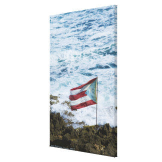 Puerto Rico, Old San Juan, flag of Puerto rice Canvas Print