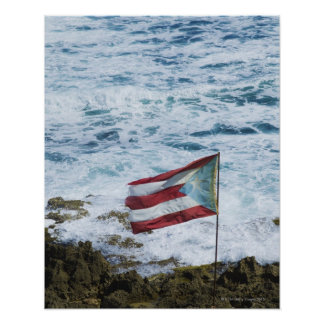 Puerto Rico, Old San Juan, flag of Puerto rice Poster