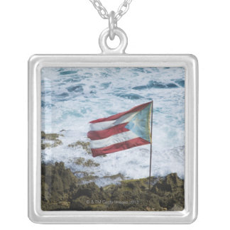 Puerto Rico, Old San Juan, flag of Puerto rice Silver Plated Necklace