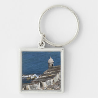 Puerto Rico, Old San Juan, section of El Morro Silver-Colored Square Key Ring
