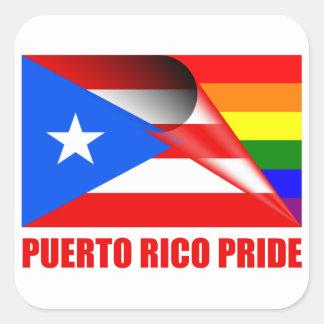 Puerto Rico Pride LGBT Rainbow Flag Square Sticker