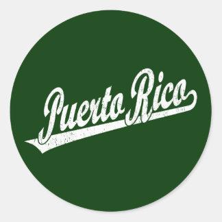 Puerto Rico script logo in white distressed Classic Round Sticker