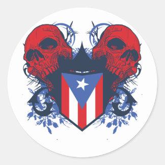 Puerto Rico Skulls Round Sticker