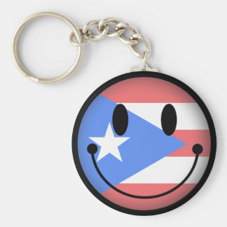 Puerto Rico Smiley Key Ring