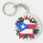 Puerto Rico Star Basic Round Button Key Ring