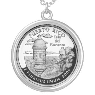 Puerto Rico state quarter Silver Plated Necklace