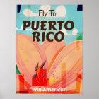 Puerto Rico Vintage Flower Travel Poster