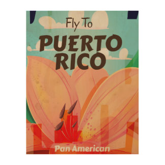 Puerto Rico Vintage Flower Travel Poster Wood Canvases
