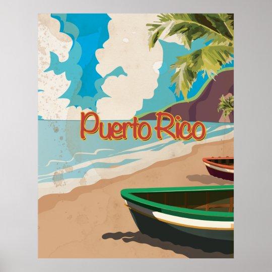 Puerto Rico Vintage Travel Poster