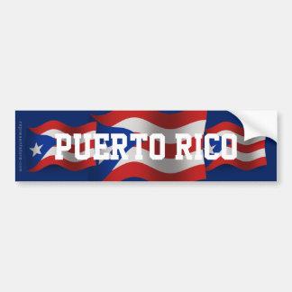 Puerto Rico Waving Flag Bumper Sticker