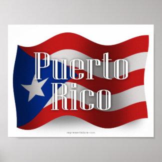 Puerto Rico Waving Flag Poster