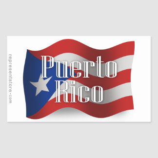 Puerto Rico Waving Flag Rectangular Sticker
