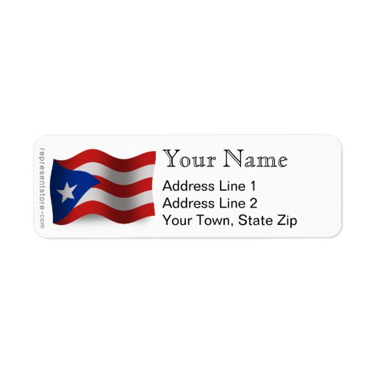 Puerto Rico Waving Flag Return Address Label