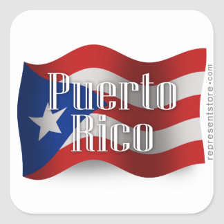 Puerto Rico Waving Flag Square Sticker