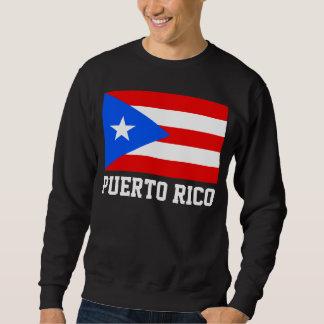 Puerto Rico World Flag Text Pullover Sweatshirts