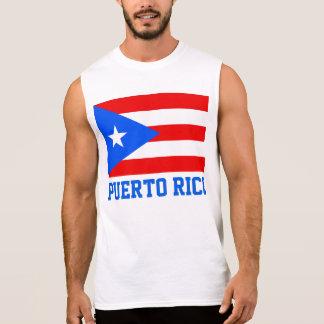 Puerto Rico World Flag Text Sleeveless Tees