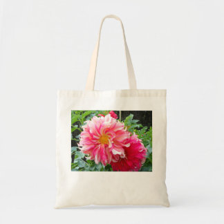 Puff of Pink Dahlia Tote Canvas Bags