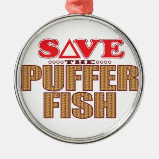 Puffer Fish Save Christmas Ornament