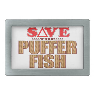 Puffer Fish Save Rectangular Belt Buckles