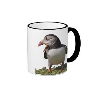 Puffin asking for a caption ringer mug
