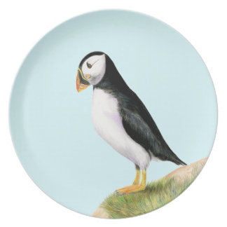 Puffin Bird Watercolour Painting Print fratercula Dinner Plate