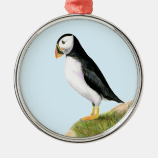 Puffin Bird Watercolour Painting Print fratercula Silver-Colored Round Decoration