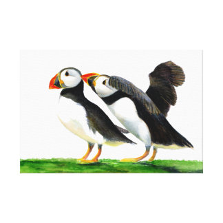 Puffin Birds Watercolour Painting Artwork Print