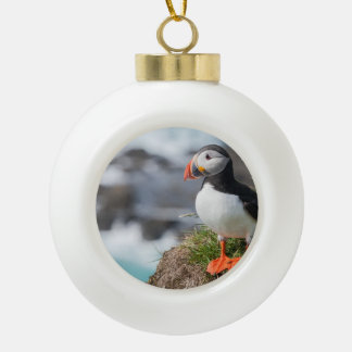 Puffin Ceramic Ball Decoration
