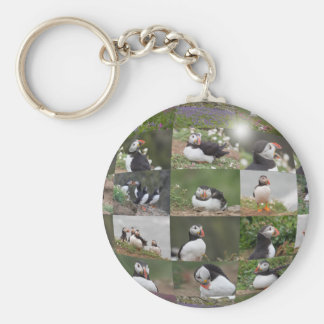 Puffin Collage Basic Round Button Key Ring